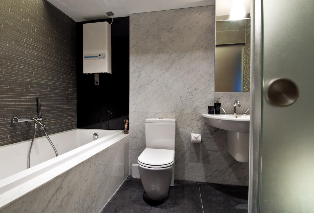 Grey wall tiles bathroom