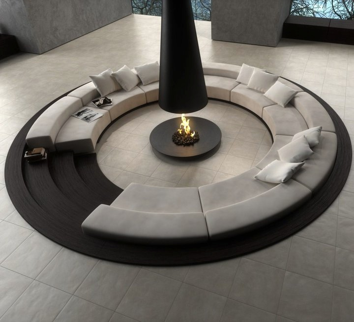 1-Circular-conversation-pit-central-fireplace Indoor Residential Lighting Ideas on residential indoor landscape, commercial outdoor lighting, residential indoor parking, residential circuit breakers, residential indoor swimming pool, residential electrical, residential indoor garden, residential indoor plumbing,