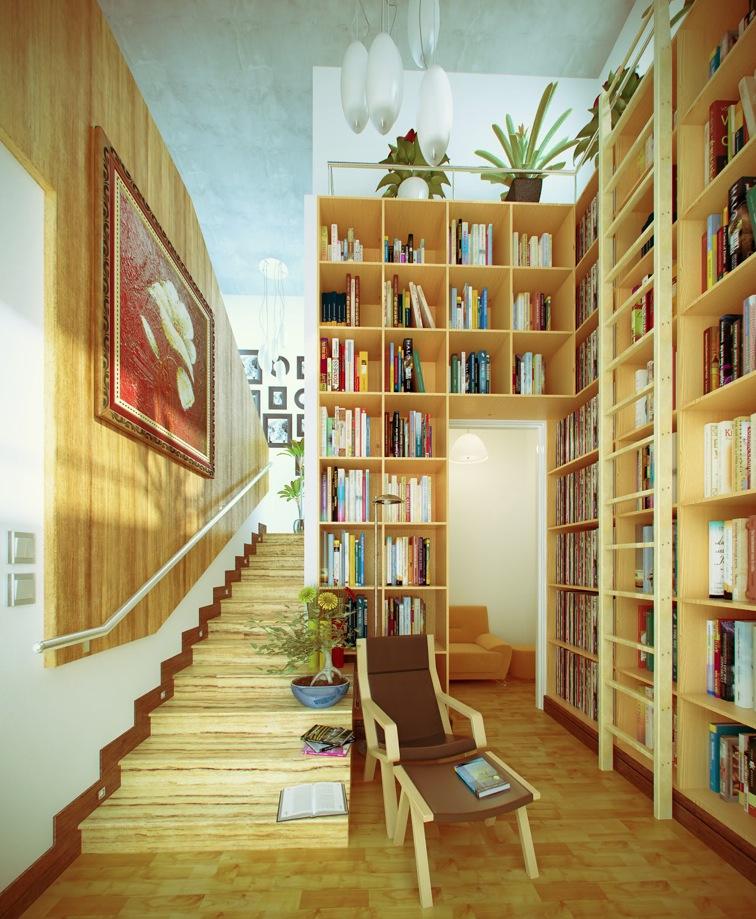 15 Yellow White Hall Home Library Interior Design Ideas