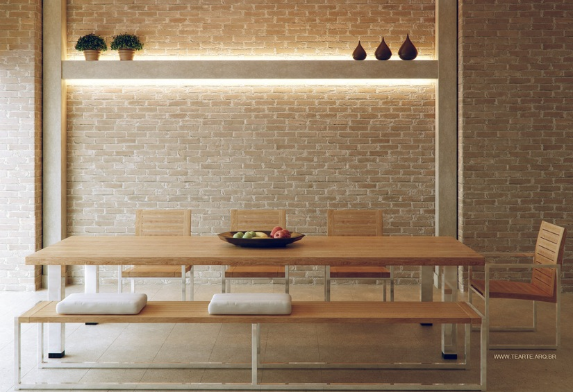 the brick dining room | Fresh White Based Dining Spaces
