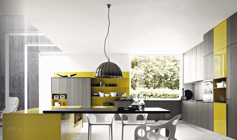 Grey Mustard Yellow Modern Kitchen Interior Design Ideas