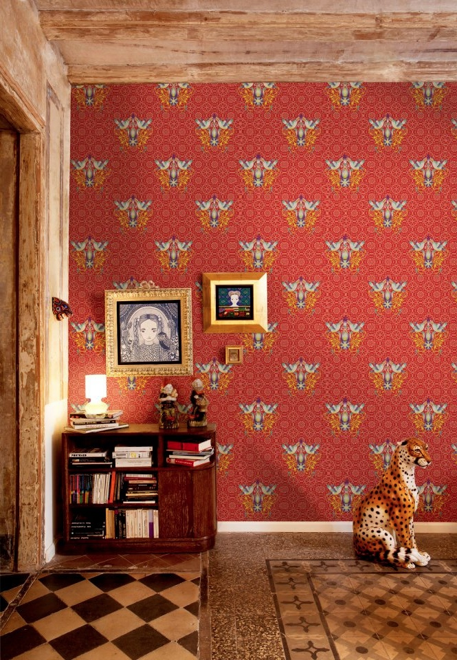 Red Yellow Wallpaperinterior Design Ideas
