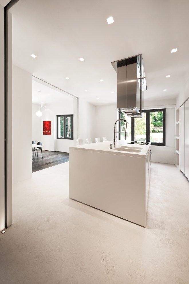 white minimalist kitchen island steel extractor | Interior ...