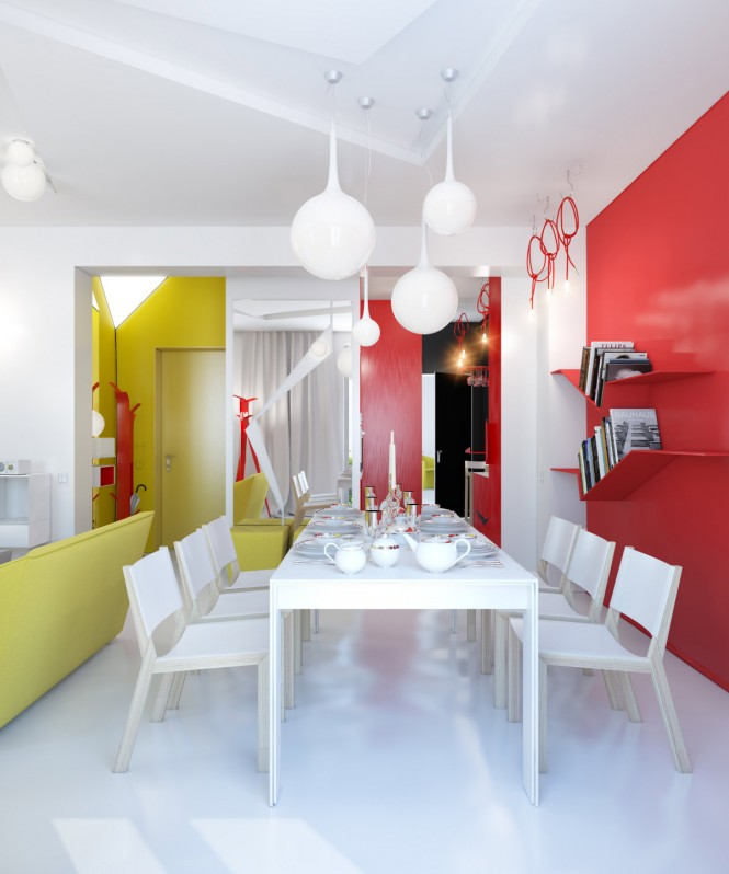 The bold red and yellow color story begins at the front door and continues throughout the
