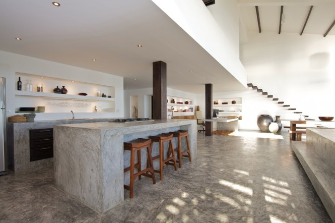 white gray concrete kitchen