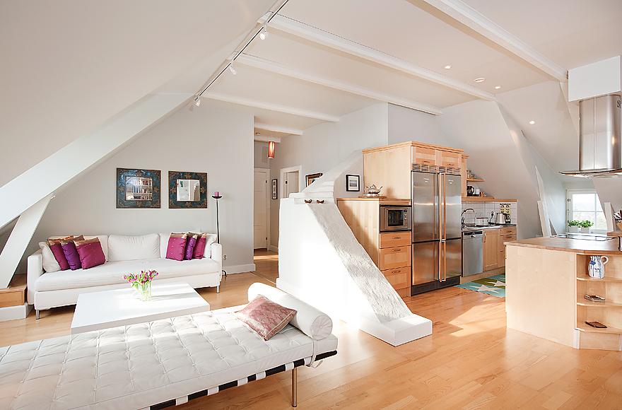 open attic ceiling ideas - white open plan living room