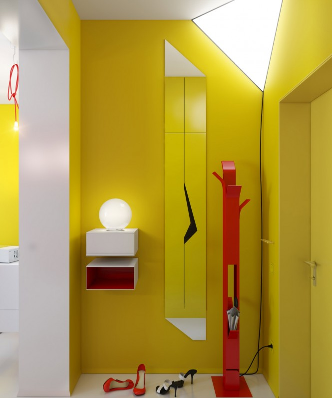 yellow hallway red accents