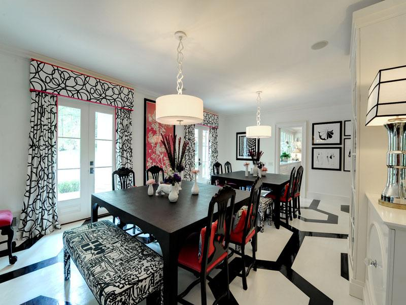 Black White Red Dining Room