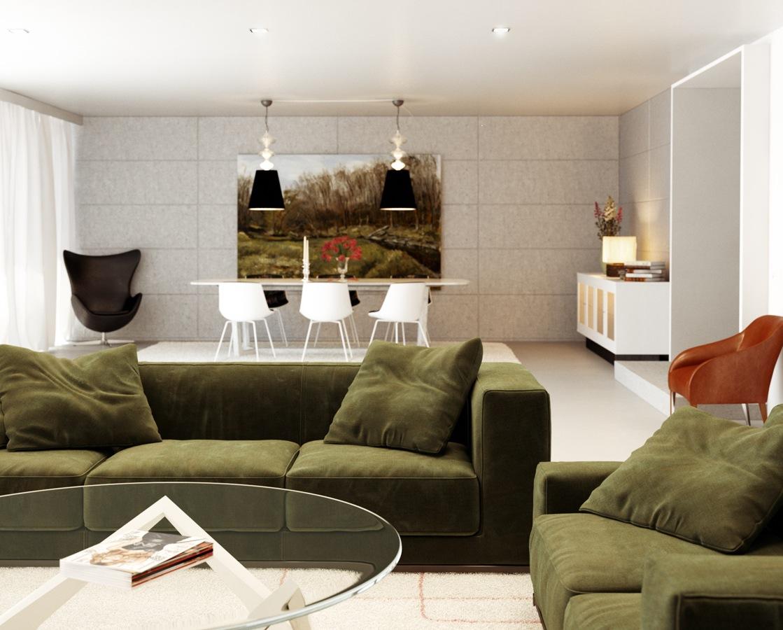 Green white orange living room | Interior Design Ideas.