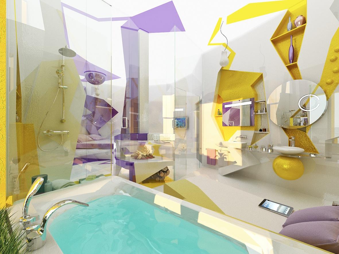 modern purple yellow white bathroom design interior. Black Bedroom Furniture Sets. Home Design Ideas