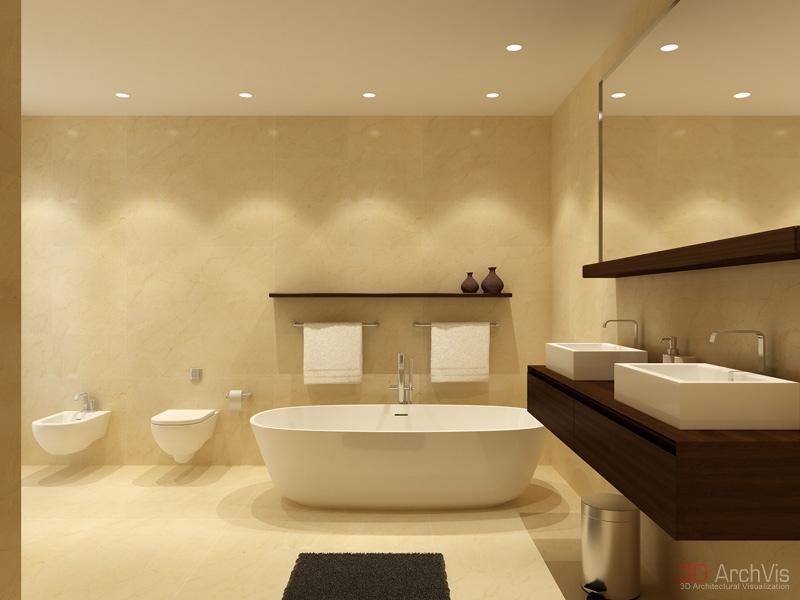 Neutral Bathroom Twin Basins Bidet Interior Design Ideas
