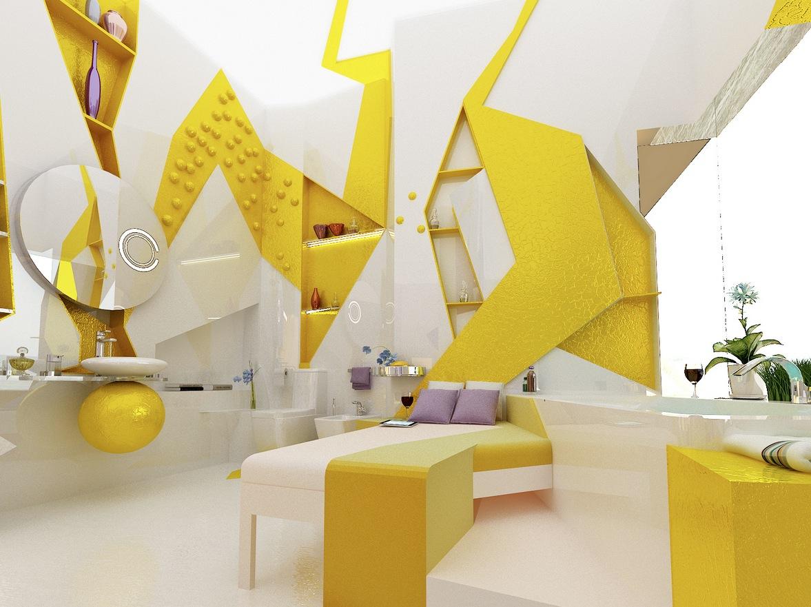 Yellow White Bedroom Ensuite