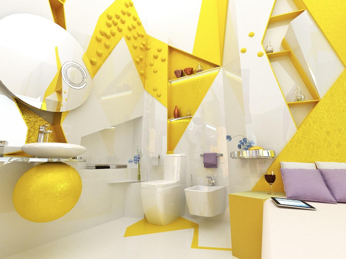 Yellow White Open Plan Ensuite Bathroom