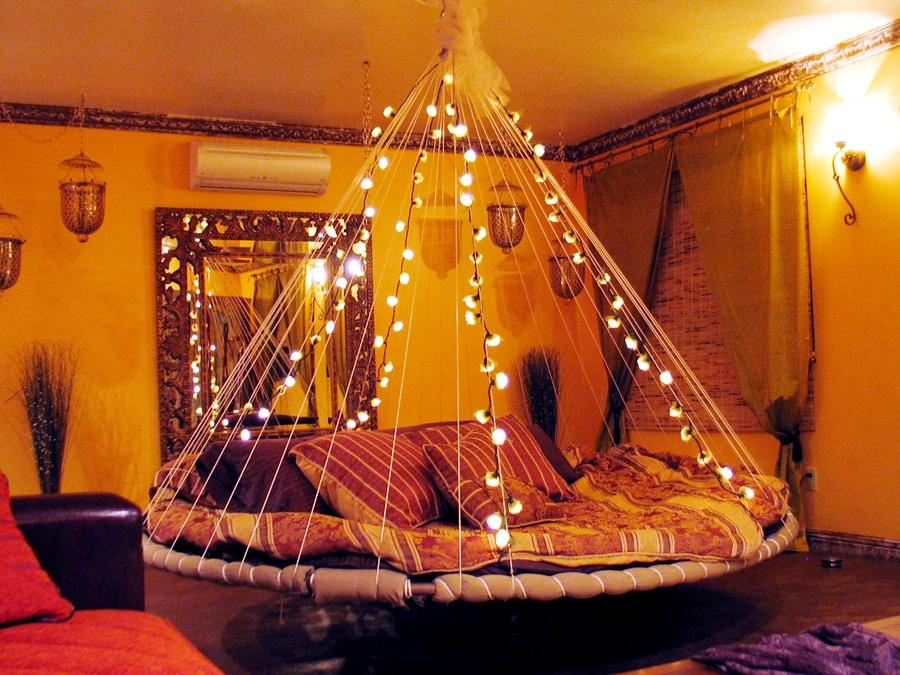 Floating Bed Fairy Lights Interior Design Ideas