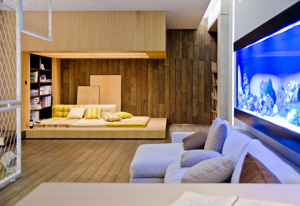 neutral living room wood cladding | Interior Design Ideas.