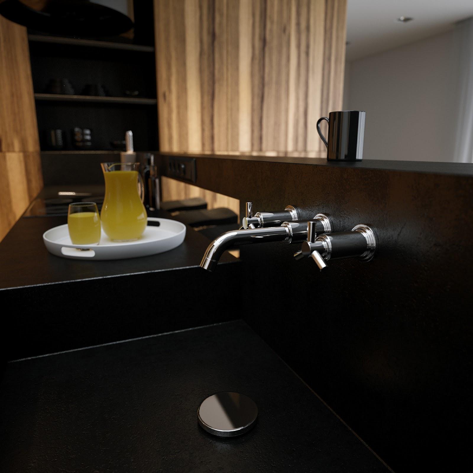Black Corian Kitchen Sink Worktop Interior Design Ideas