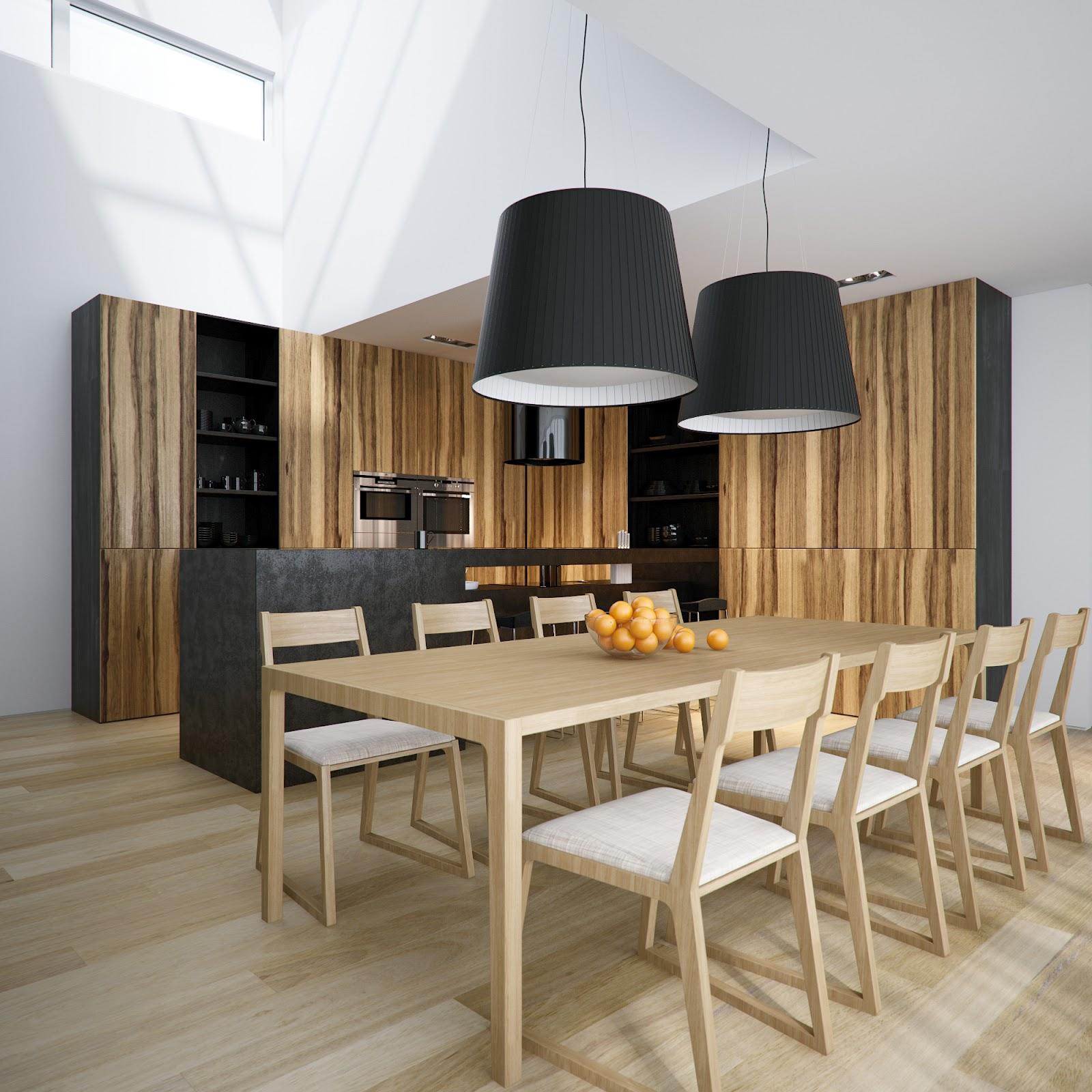 Cuisine Blanc Et Marron: Modern Minimalist Black And White Lofts