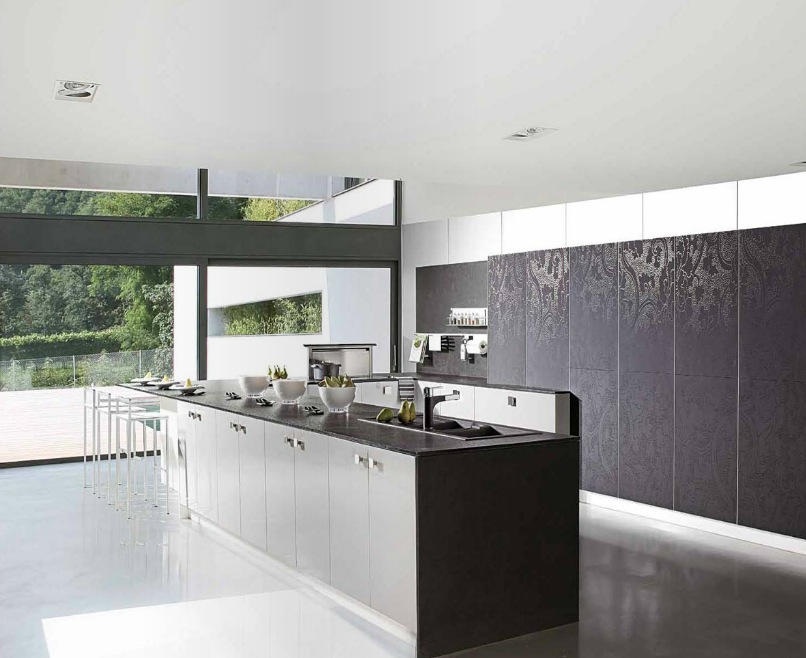 Black White Wallpaper Look Kitchen Cabinets Interior Design Ideas