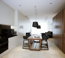 The blonde flooring in this concept comes in the form of marble effect tiles, practical for cooking and eating areas, and is softened by a deep pile rug in the lounge.