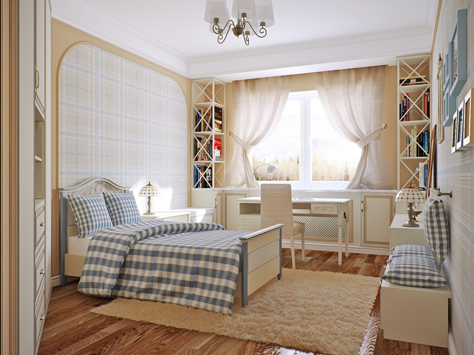 blue cream checkered bedroom | Interior Design Ideas.