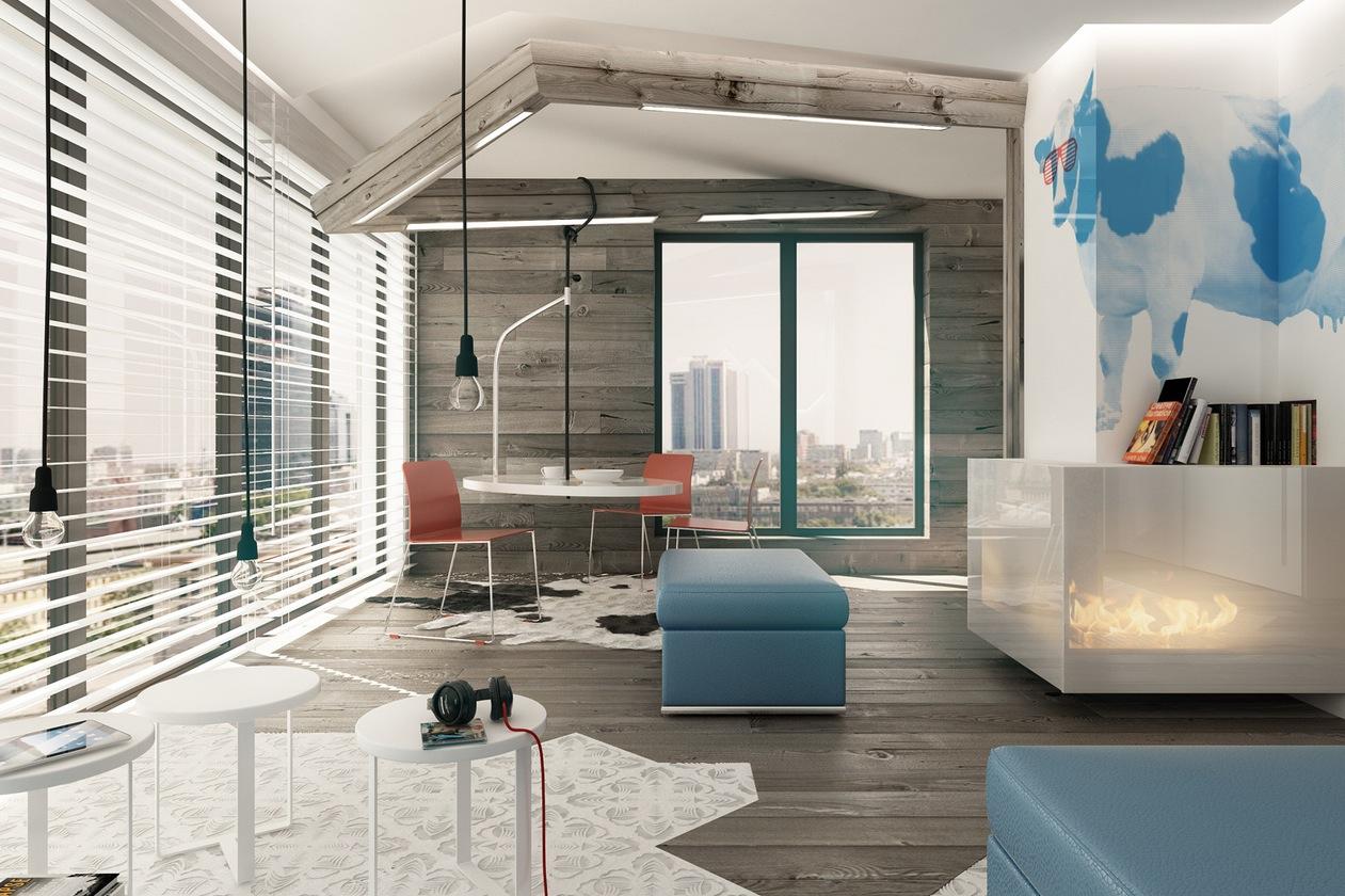 Blue Brown White Dining Loungeinterior Design Ideas