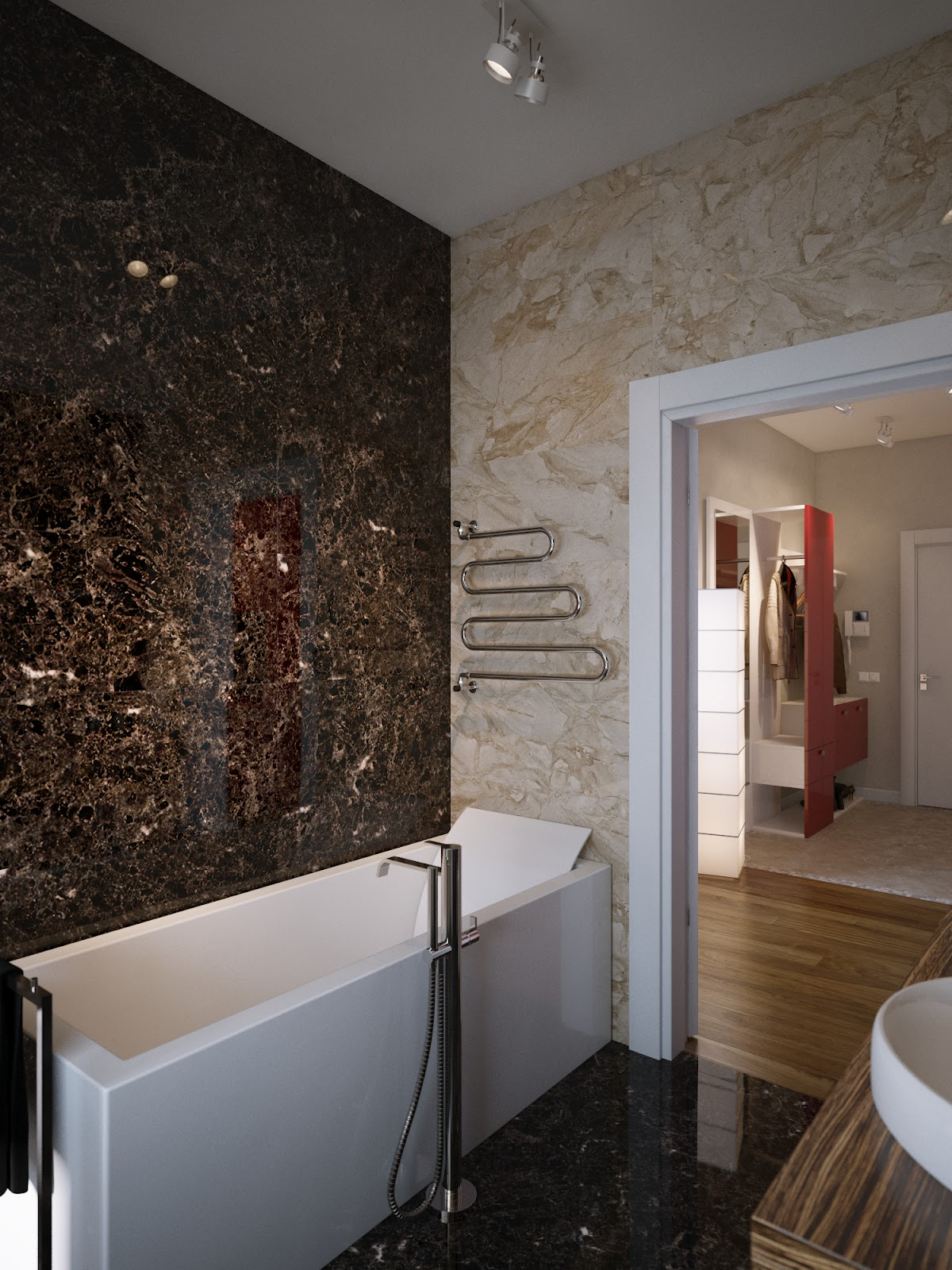 Brown Cream Marble Bathroom Walls