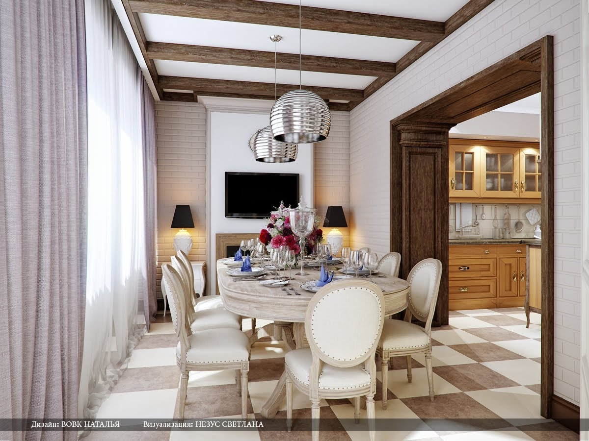 Cream brown dining room silver pendant lights interior - Design your kitchen online for free ...