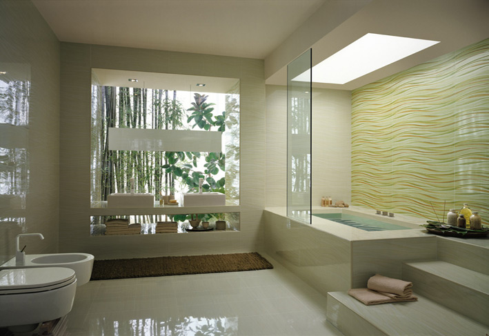 Wave Bathroom Tile Stepped Bathtub