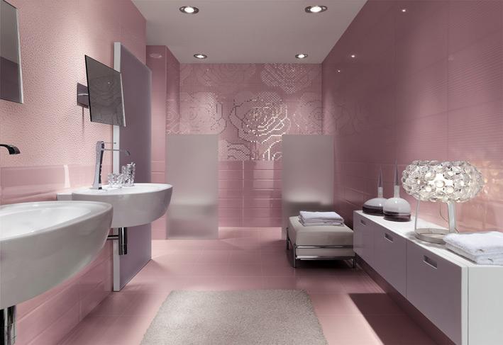 Metallic Paint Bathroom Ideas: Floral Metallic Bathroom Mosaic Tiles