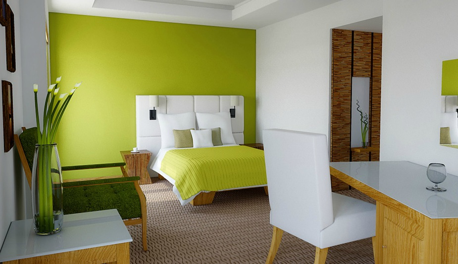 Lime green white bedroom ideas | Interior Design Ideas.