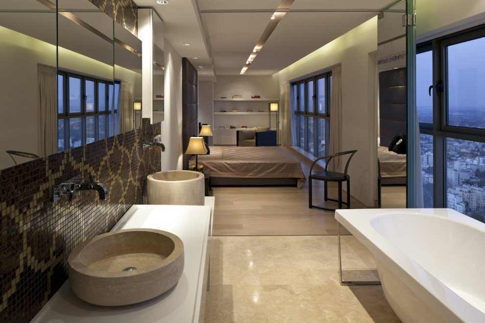 Neutral Bedroom Bathroom Twin Basin Interior Design Ideas