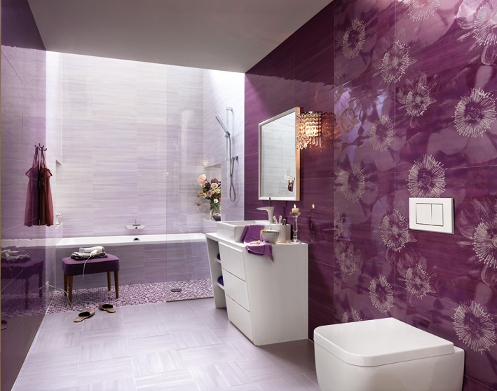 Purple White Fl Bathroom Ceramic Tile
