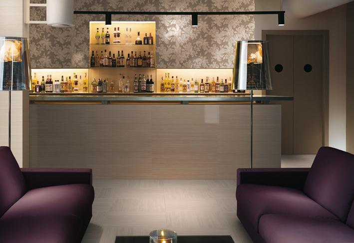 Purple White Lounge Bar Patterned Wall Tile Interior Design Ideas