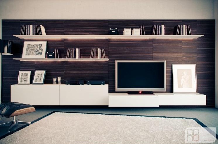 Walnut White Entertainment Wall Interior Design Ideas