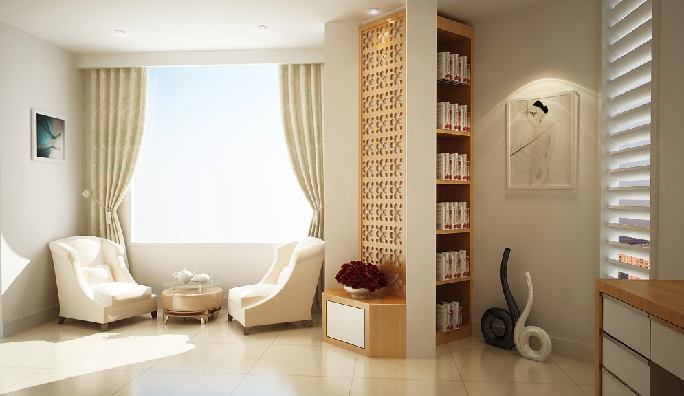 White cream home office lounge   Interior Design Ideas.