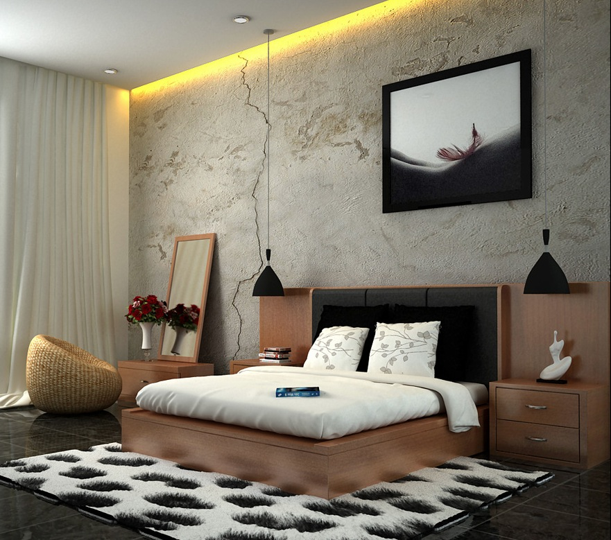 White Brown Black Bedroom Scheme