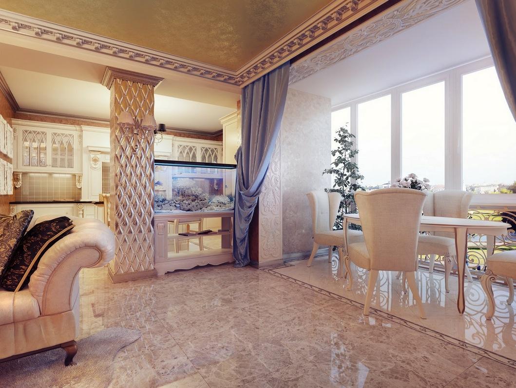 Classic Cream Blue Lounge Diner Interior Design Ideas