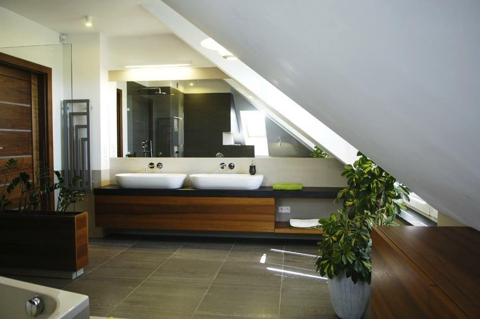 Contemporary White Walnut Black Attic Bathroom Interior