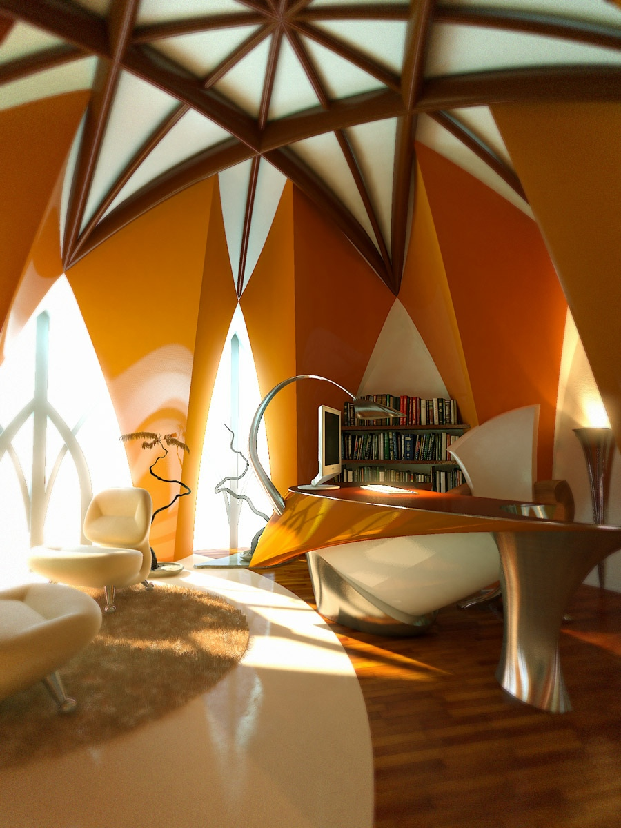 Orange white office vaulted ceiling