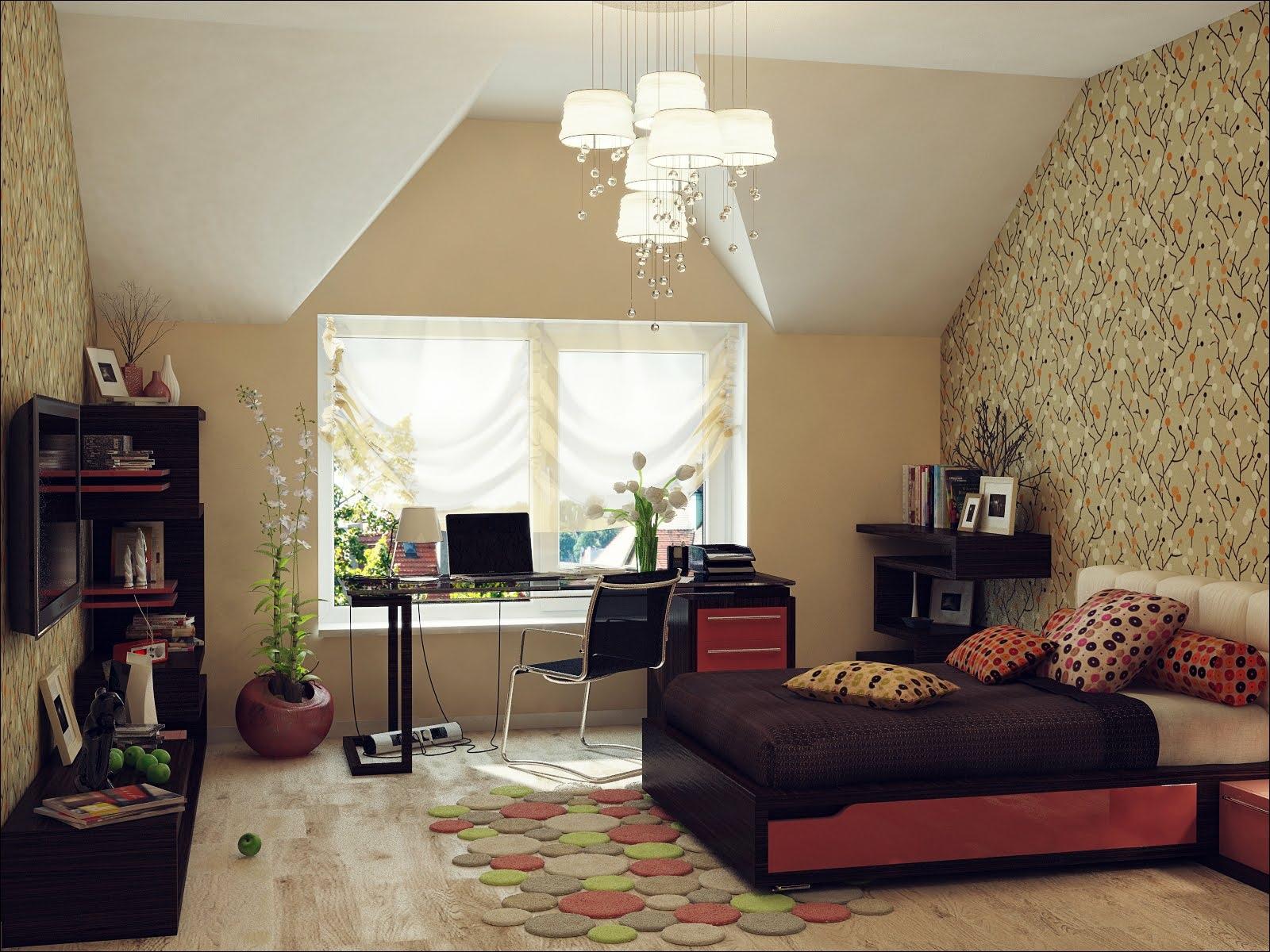 Red Black Beige Bedroom Sloped Ceiling Interior Design Ideas