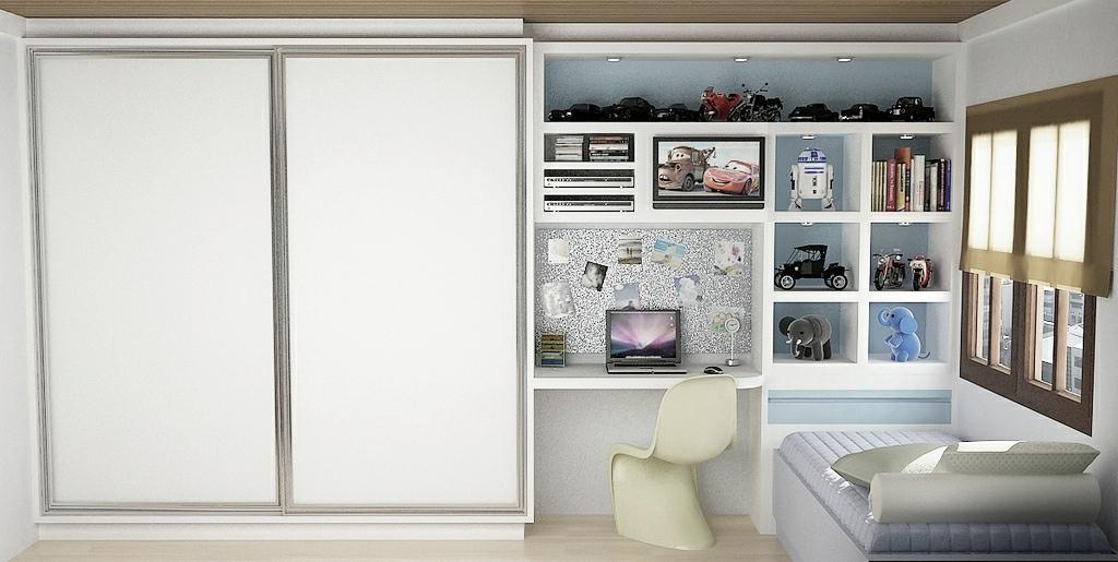 White Blue Bedroom Office Desk Interior Design Ideas