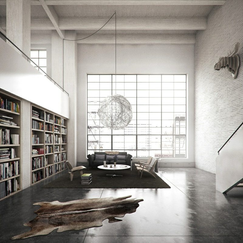 Loft Library Interior Design Ideas