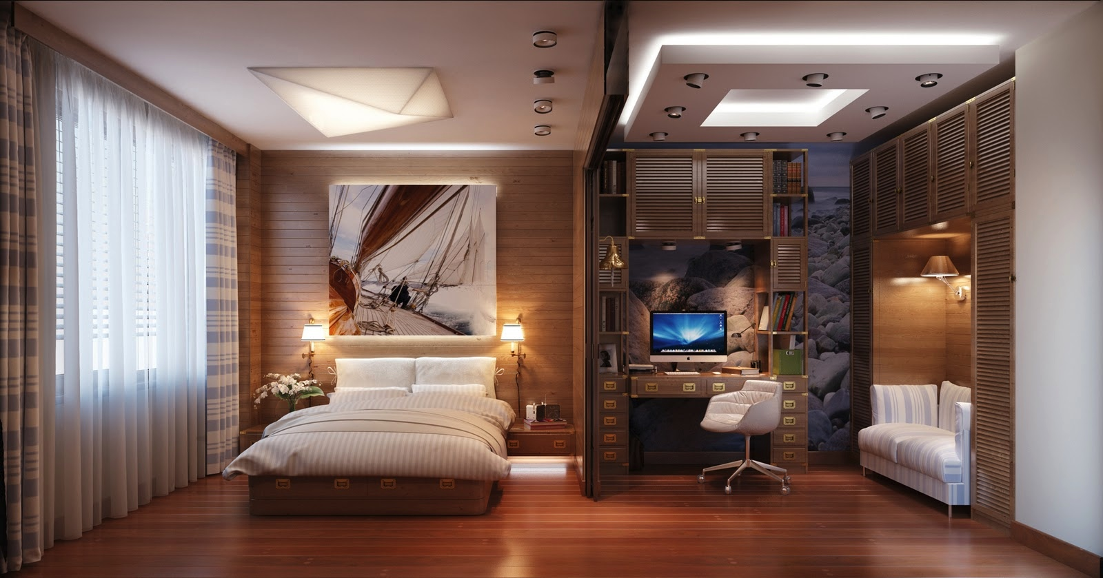 Find and save ideas about Bedroom office combo on Pinterest. | See more ideas about Bedroom with office, Small spare room office ideas and Small bedroom office.