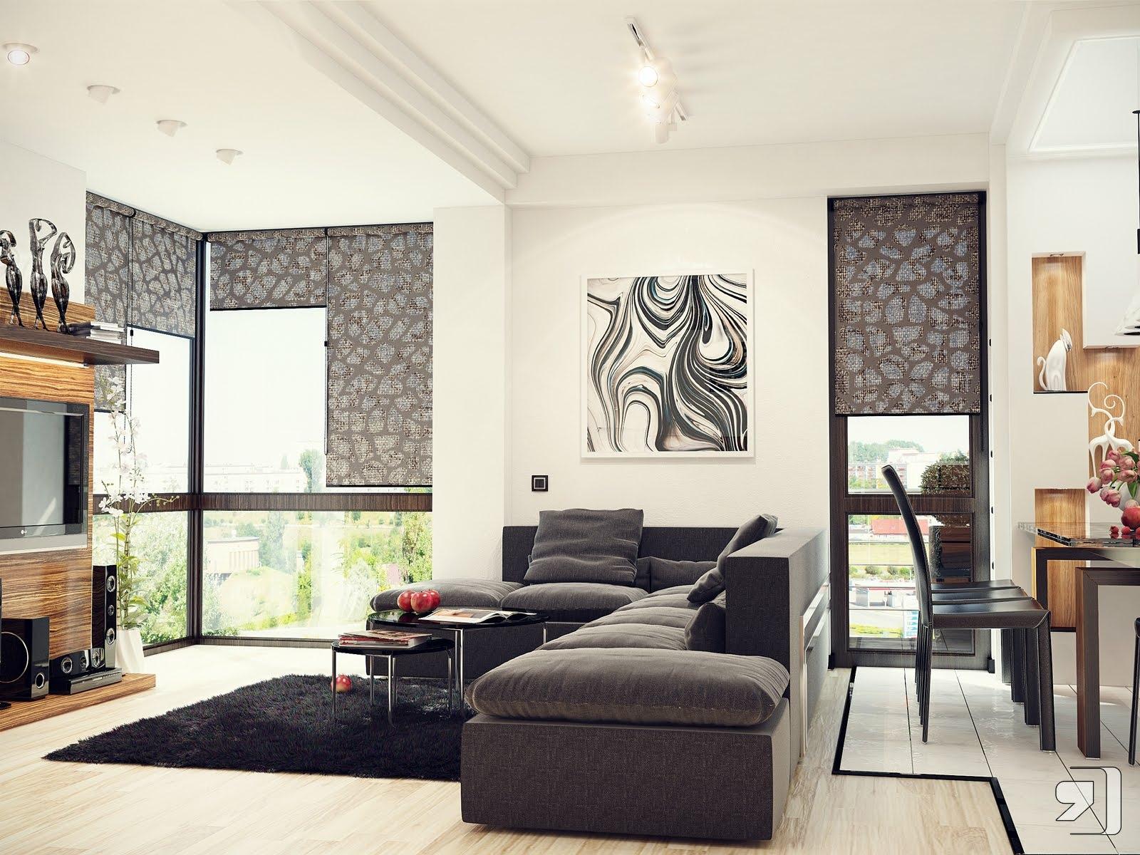 Black white gray living room | Interior Design Ideas