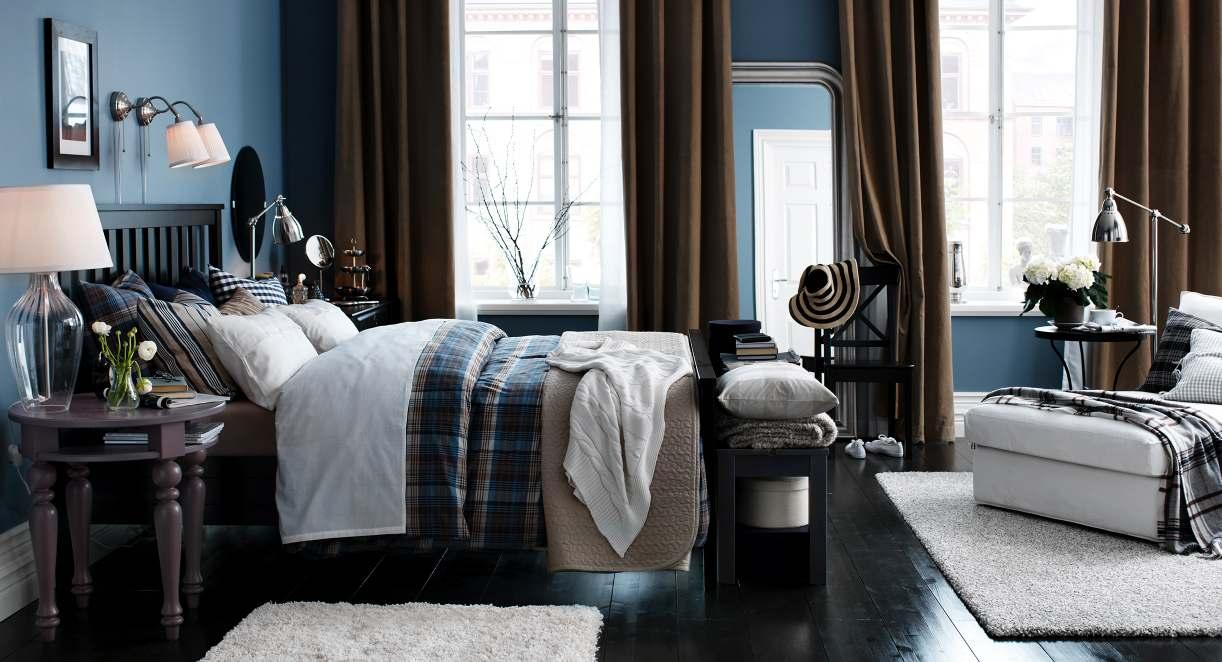 Blue brown white bedroom | Interior Design Ideas.