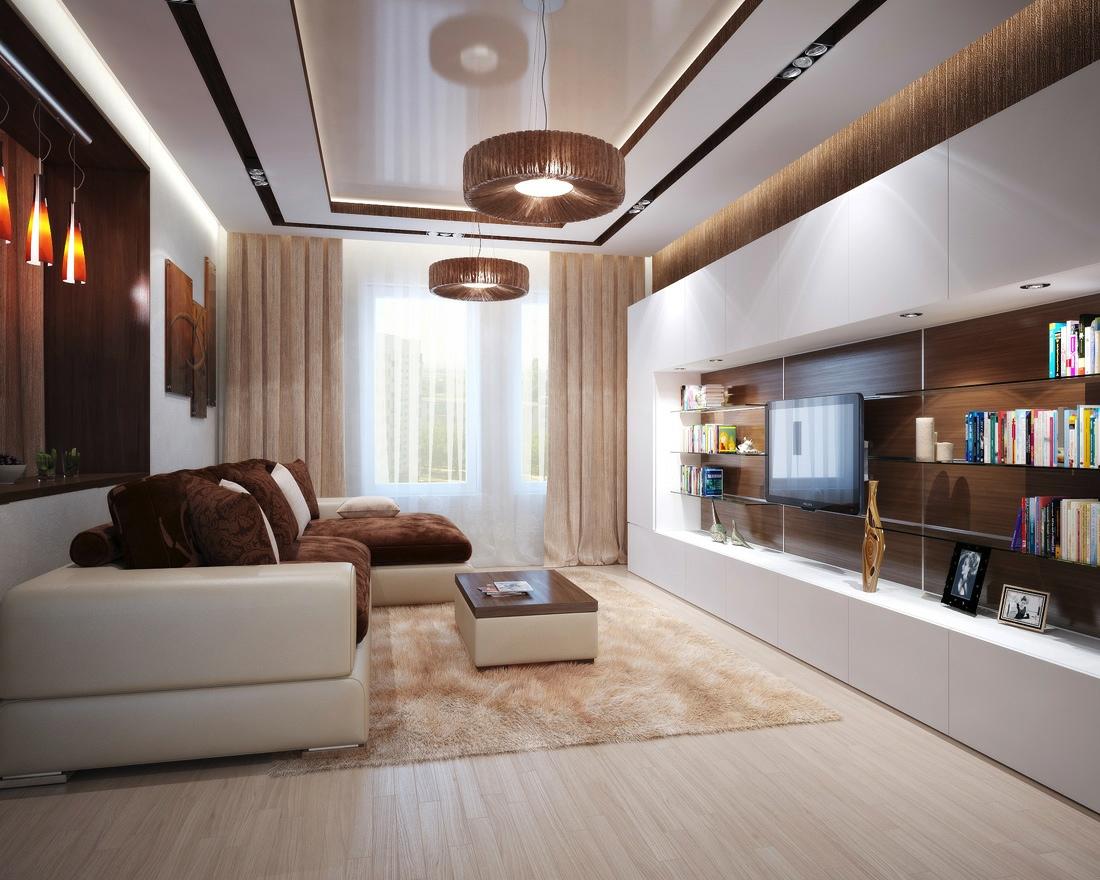 Brown Cream Living Room L Shaped Sofa