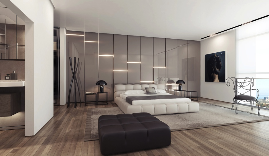 | Gray gloss wall lighting panelsInterior Design Ideas.
