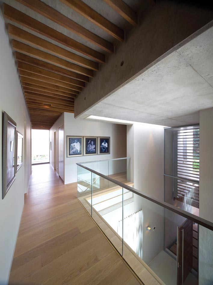 To allow light to flow and reflect it is seen as staircase and mezzanine walkway balustrades and as a contemporary wall treatment in the bathroom
