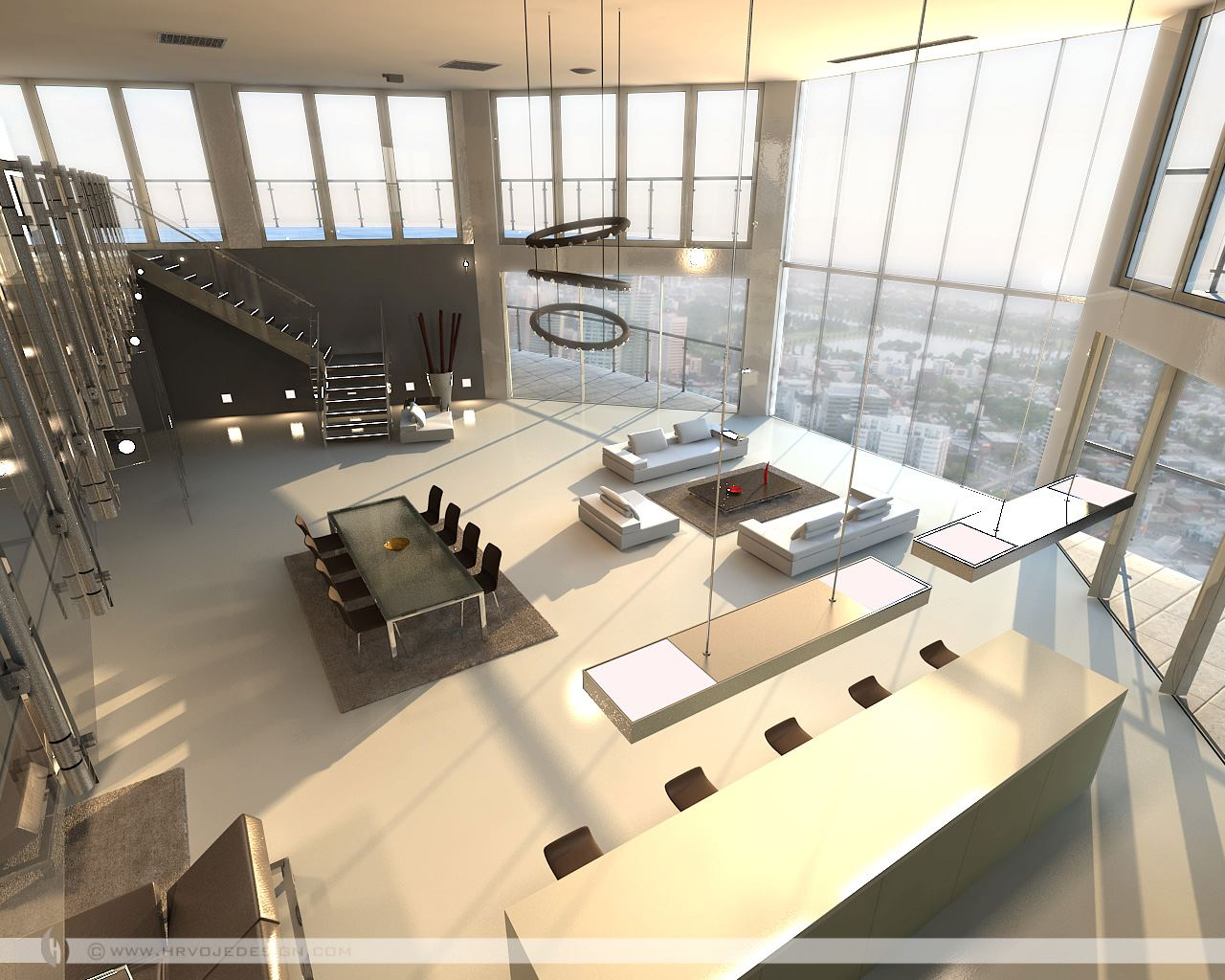 Open plan penthouse design layout Interior Design Ideas. - ^