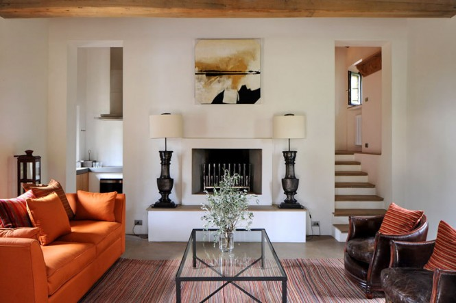 enchanting orange white living room | Transition of a Fortified Italian Farmhouse